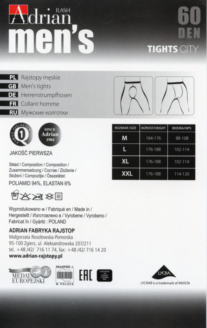 Adrian 'City' 60 Denier Sheer-to-waist Opaque Tights for Men - Click Image to Close