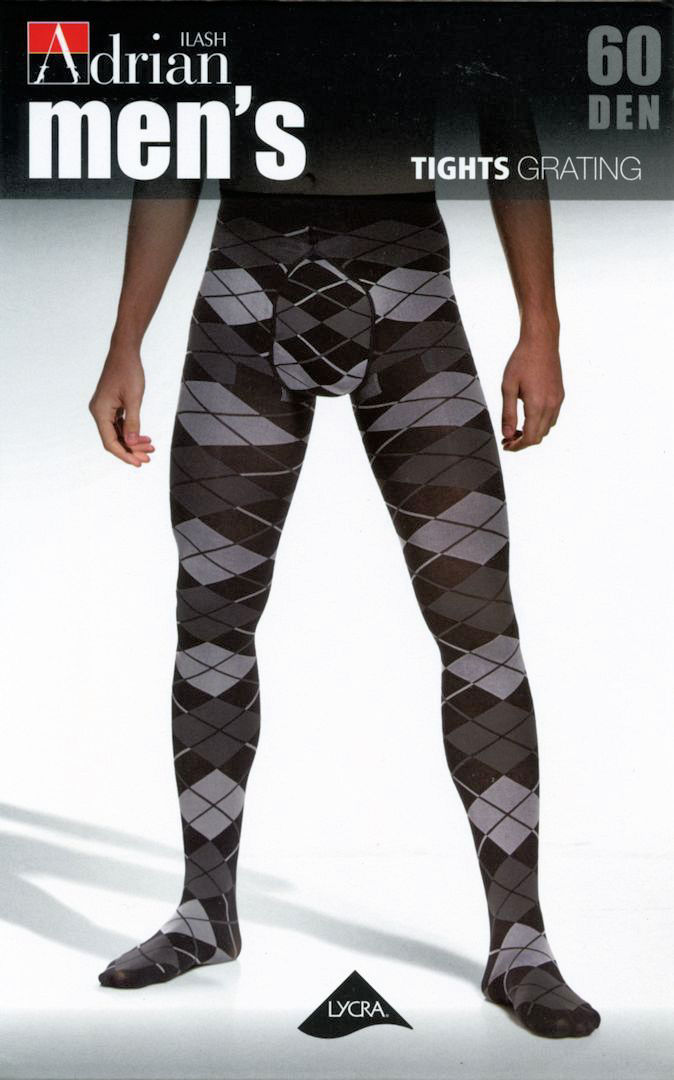 Adrian 'Grating' 60 Denier Argyle-Pattern Opaque Tights for Men