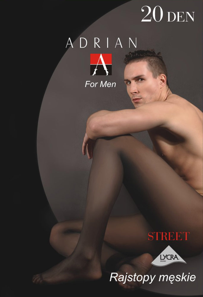 Adrian 'Street' 20 Denier Sheer-to-waist Tights for Men - Click Image to Close