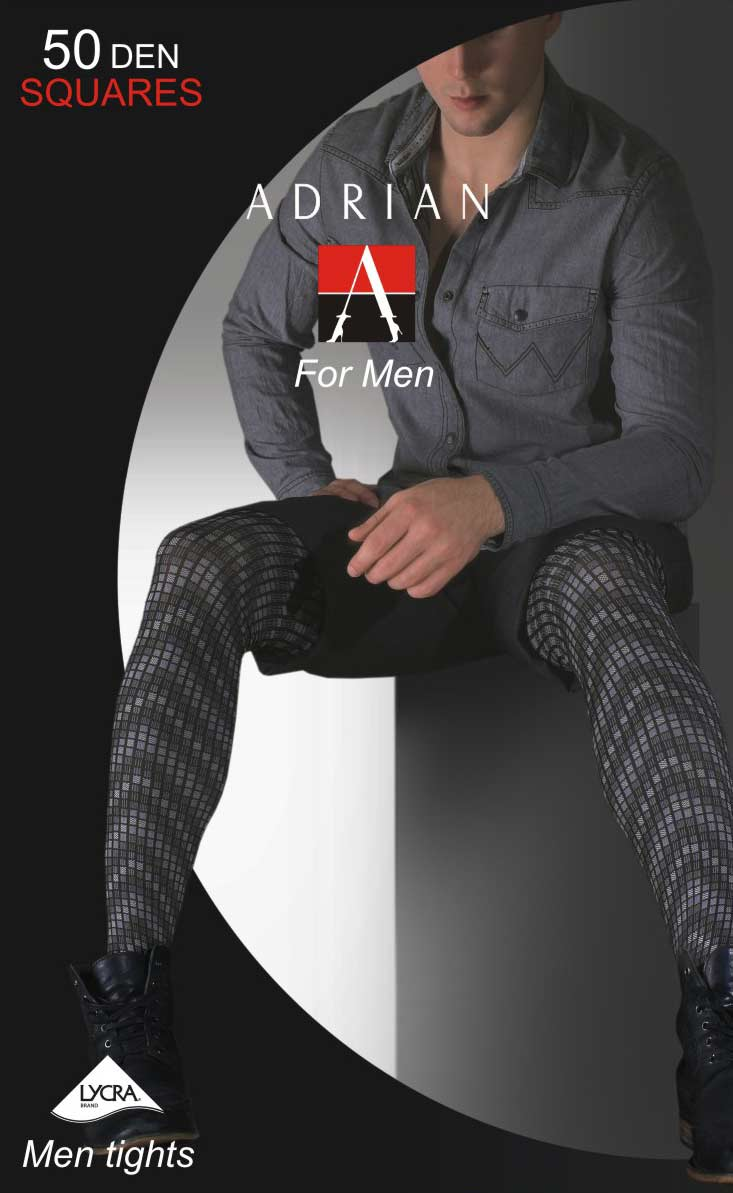Adrian 'Squares' Patterned Opaque Men's Tights
